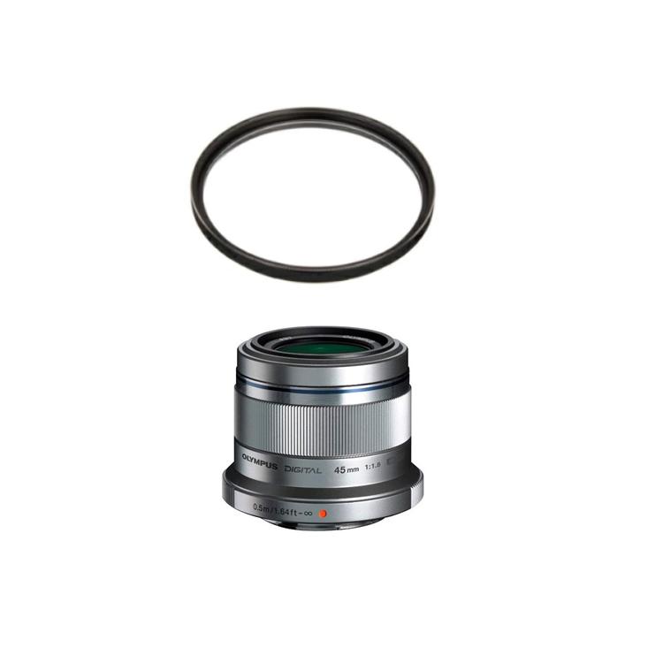 (レンズ保護フィルター付) オリンパス ファミリーポートレートレンズ M.ZUIKO DIGITAL 45mm F1.8 シルバー (マイクロフォーサーズ用)(快適家電デジタルライフ)