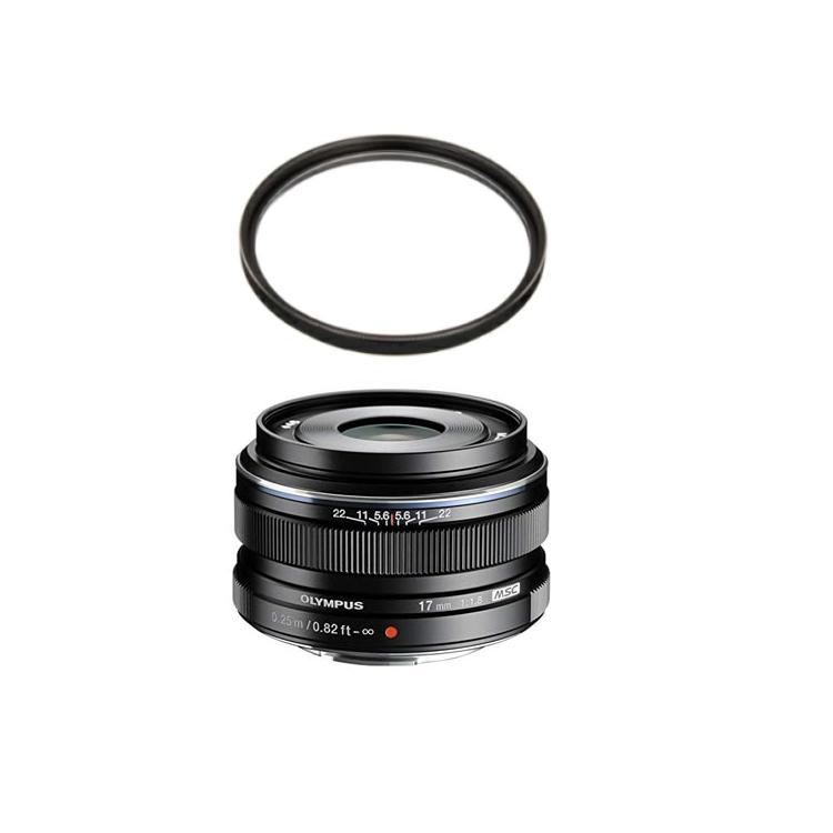 (レンズ保護フィルター付)オリンパス 大口径広角レンズ M.ZUIKO DIGITAL 17mm F1.8 ブラック (マイクロフォーサーズ用)(快適家電デジタルライフ)