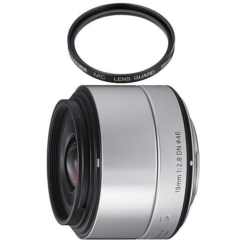 (レンズ保護フィルター付) シグマ 19mm F2.8 DN ソニーEマウント用 シルバー (快適家電デジタルライフ)