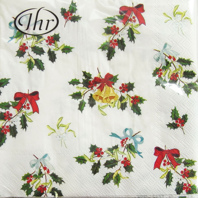 White Christmas In Germany.Paper Napkin Lunch Size Decorative Holly White Christmas Ihr Germany Paper Napkin Paper Napkin