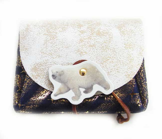 レザーミニウォレットシロクマ ネイビー×ゴールドバイヤス [carmine]日本製・財布