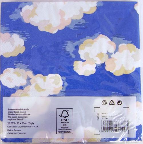 廃番、库存限度!纸餐巾  CLOUDS 2张装kyasukiddoson[CathKidston]德国制造、纸巾