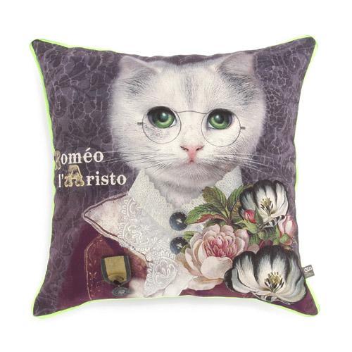 オブジェ・インテリア・アブラカダブラ クッションカバー ねこのロメオ[Objet d' Interieur Abracadabran]猫・ねこ・ネコ・クッションカバー