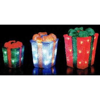 LEDライト クリスタルモチーフ3連プレゼントボックス[友愛玩具]イルミネーション・デコレーション・LED