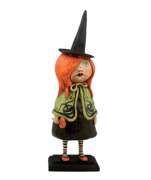 ハロウィンオブジェ Little Goth Girl Witch in Lime Green Cape  [Debra Schoch]作家作品 Bethany Lowe Designs・ハロウィン・カボチャ・パンプキン