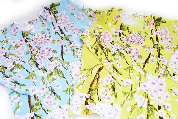 限定品長袖カットソー しだれ桜 [Super Beauty]七分袖・桜・スパンコール・ビーズ・サクラ柄洋服・さくら