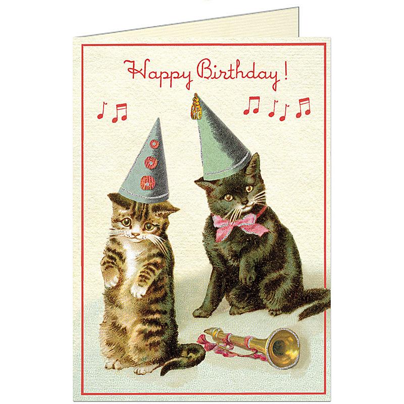 CavalliniCo Birthday Card CATS Trumpet Note Coe Cat