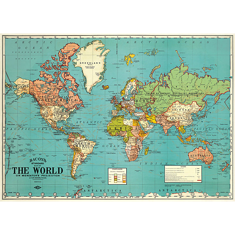 KADERIA: Cavallini&Co wrapping paper wrapping paper world map 4 ...