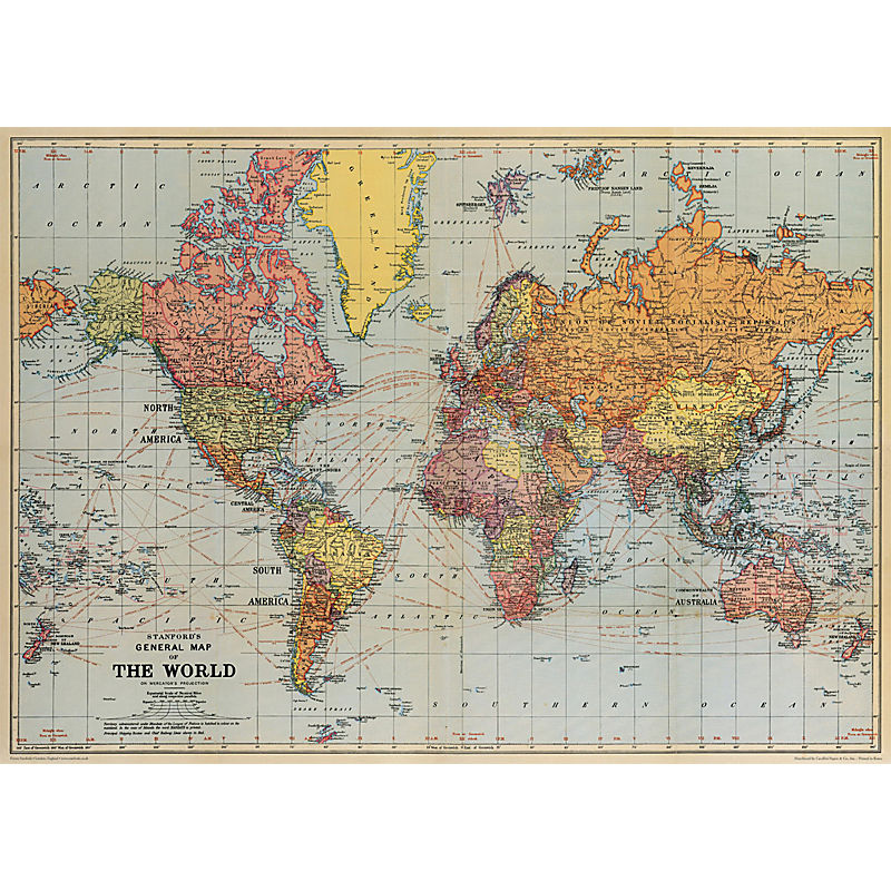 KADERIA: Cavallini&Co wrapping paper wrapping paper world map ...