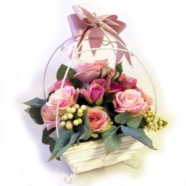 限定品アートフラワーM 送料無料 Reve Le ピンクローズ&ホワイトバスケット・ル・レーブ 1点物フラワーアレンジメント・造花