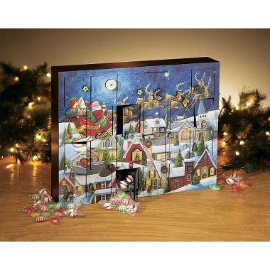 木製アドベントカレンダー 夜空とサンタのソリByers Choice 輸入アドベントカレンダー