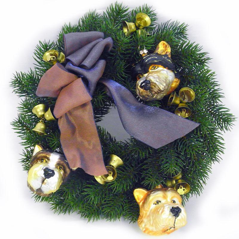 1点物 3匹犬の通年リース ミックスリボンSドッグオーナメントリースクリスマスリース・オールシーズンリース・造花