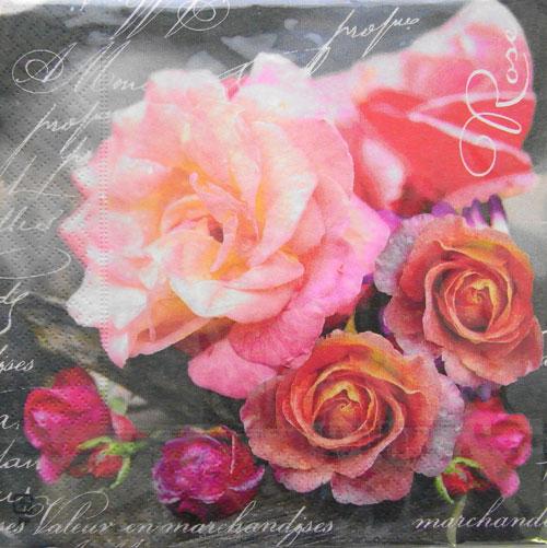 Kaderia C 322 Three Pieces Paper Napkin Rose Pink Rose Paper