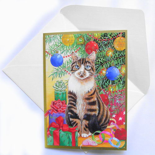 christmas new year card tree and a present and cat caspari by kym bowles greeting card christmas cat cat cat cat