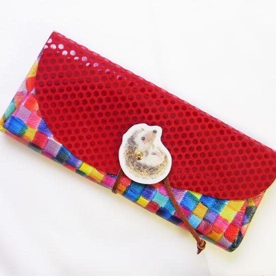 ★送料無料★ カーマイン レザーロングウォレットハリネズミ ブロックチェック×ドット[carmine]日本製・長財布