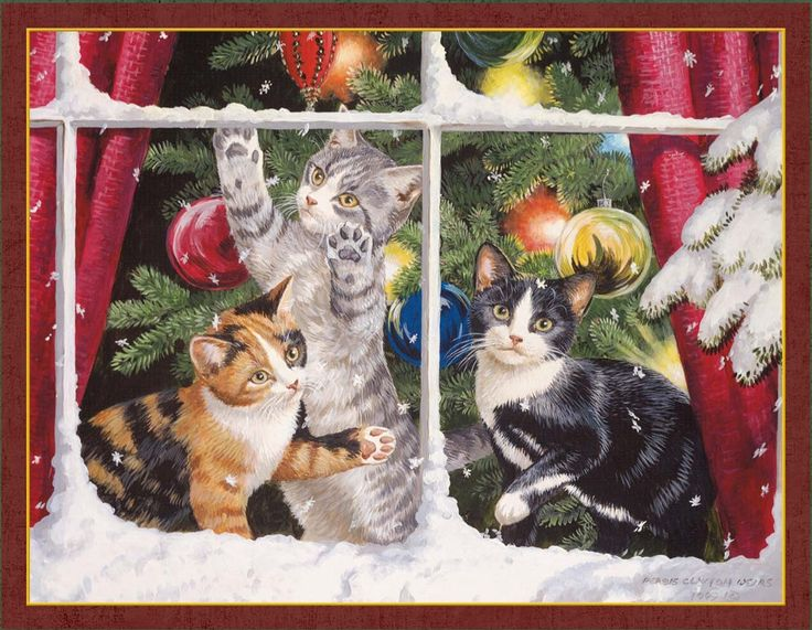 The tree of the LANG Christmas card window and three cat [LANG KITTEN  CHRISTMAS][Persis Clayton Weirs] greeting card cats, cats, cats, Cat, cats