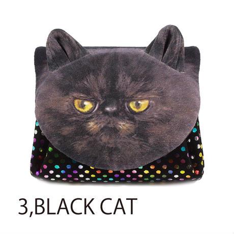 カーマイン アニマルフェイスミニウォレットキャットフェイス くろねこ[carmine]日本製・財布黒・ねこ・猫・ネコ・cat