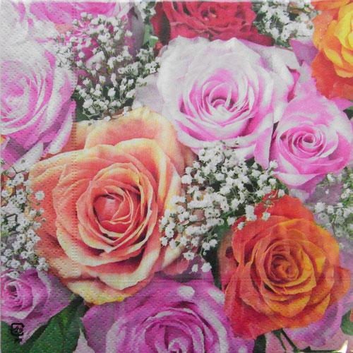 Kaderia C 405 Three Pieces Paper Napkin Rose Bouquet Up Paper