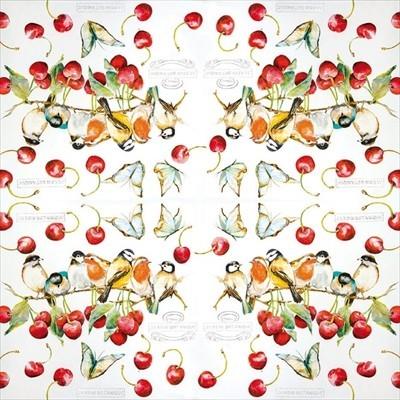 kaderia five pieces of paper napkin cherry bird cherry birds home