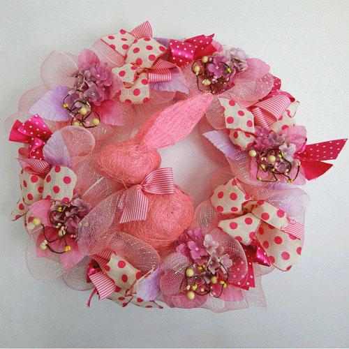 限定1個 イースターリース ラビット リース L ピンクピンクピンクイースター飾り キッズ部屋・誕生会・復活祭飾りイースター飾り うさぎ飾り バニー飾り空間ディスプレー・ショーウィンドーディスプレー
