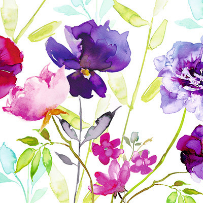 Fiori Watercolor.Kaderia Five Pieces Of Paper Napkin Watercolor Flower Color Viola
