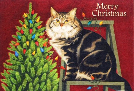 Kitten Christmas.Lang Christmas Card Illumination Tree And Cat Lang Kitten Christmas Persis Clayton Weirs Greeting Card Cat Cat Cat Cat Cat