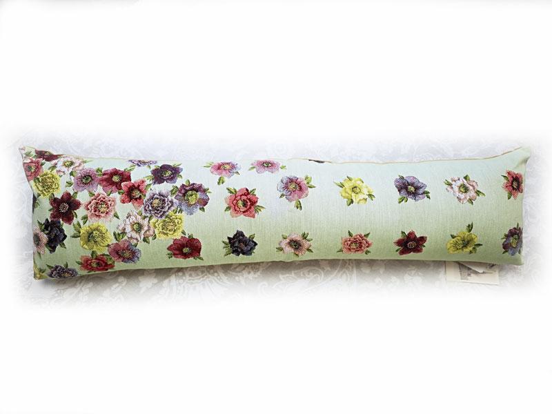 限定フランス製ロングクッション  花グリーン 25x90cmフランス製ゴブラン織り[ART de LYS]アールドリス隙間風防止クッション 花柄ジャカード
