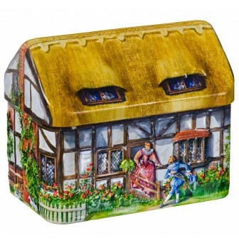 輸入菓子 缶入りトフィー わらぶき屋根のコテージ缶チャーチル貯金箱・イギリス田舎の家