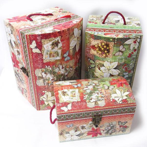 限定品トレジャーチェストBOXセット スノー ピースフル[PunchStudio]パンチスタジオ・クリスマス・トランク収納ボックス・ギフトボックス