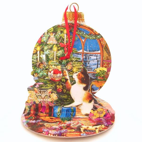 ★定形サイズ★ ポップアップグリーティングカードSオーナメント キャット[Up With Paper]立体クリスマスカード猫ポップアップカード