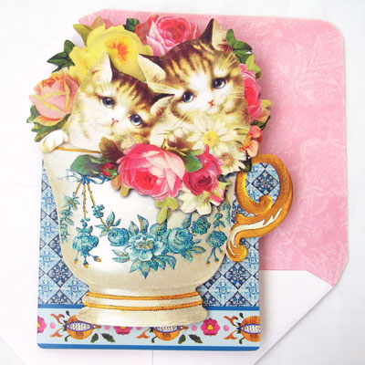 Kittens In A Cup Greeting Card Cat