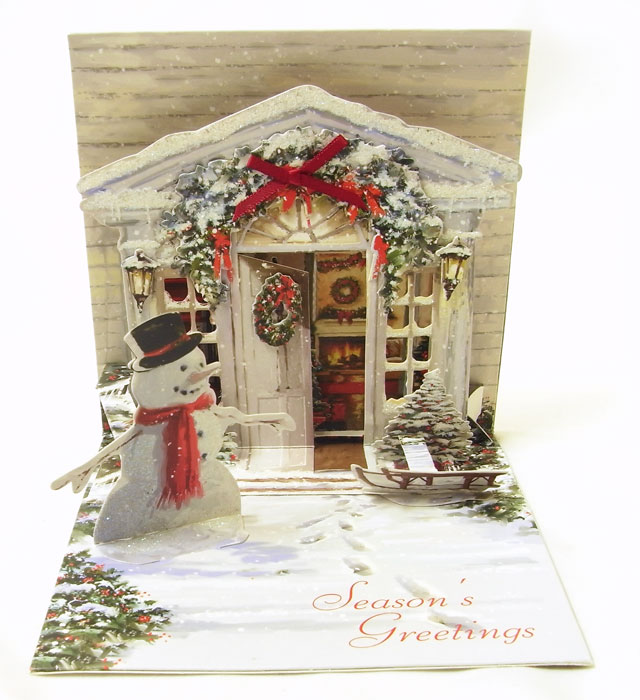 Popup Christmas Card Holiday Door Up With Paper Snowman Three Dimensional Christmas Card Popup Card