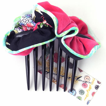 Silk cotton made in chou chou flower black x pink velour [selfish  Accessoire] Japan with a piece of thing comb