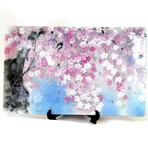 限定品七宝焼トレー しだれ桜ハンドメイド 日本製花柄・さくら・サクラ・ピンク