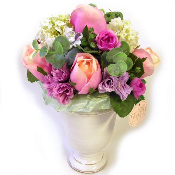 限定品アートフラワーS ピンクローズ&ホワイトベイス[マリーアントワネットアレンジ] ル・レーブ Le Reve 1点物 8A フラワーアレンジメント・造花