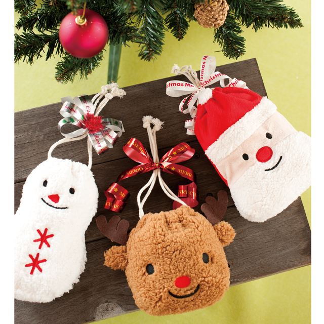 KADERIA: Gift bag Christmas mini-drawstring purse three kinds ...