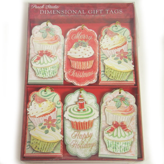 Cupcake glitter gift tags set [Studio Punch, punch Studio so wrapping material