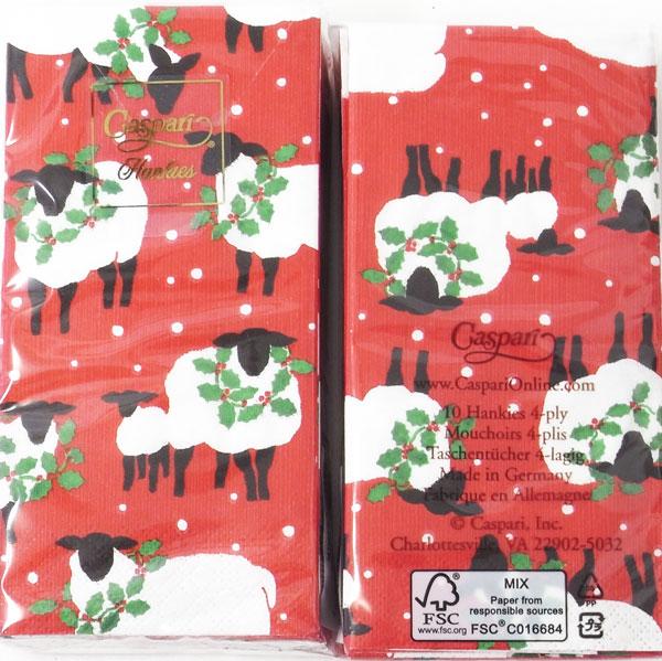 石鹸デコパージュに最適♪ ペーパーナプキン[メール便OK][ポケットサイズ]x2個羊 レッド733-711Caspariカスパリ ドイツ製ペーパーナフキン・紙ナプキン