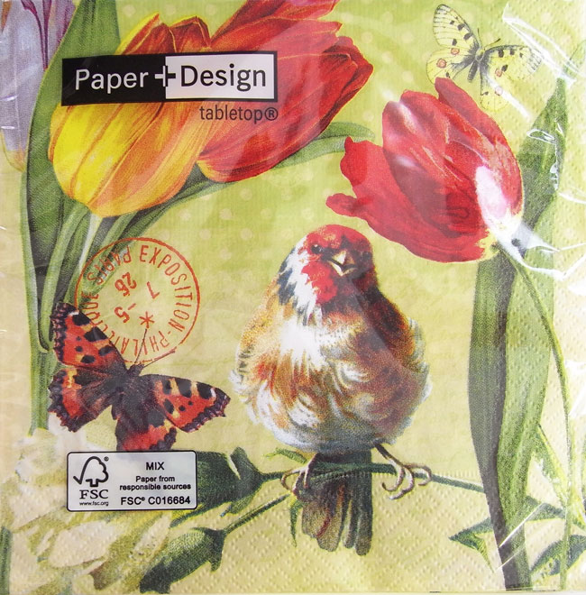 Because Wrap Food A First Class Brand Of The Relief German Paper Design Is Reliable Entering Vintage Spring Tulip Bird 33x33cm Ten Pieces