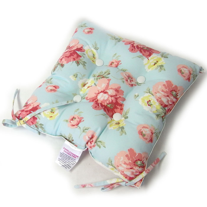 Limited Seat Cushion Summer House Blue [LAURA ASHLEY] Laura Ashley Pink,  Floral Design