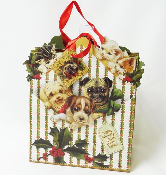 限定品 クリスマスやギフトの時に Punch Studio 祝開店大放出セール開催中 限定 ペーパーバッグS 保証 手紙の中の動物 犬グッズ 犬雑貨 ねこ ラッピング クリスマス猫 犬 ギフト DOG紙袋 CAT パグ