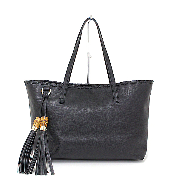bb9e3731b As well as Gucci GUCCI bamboo tassel leather tote bag grain leather black  354665 new article ...