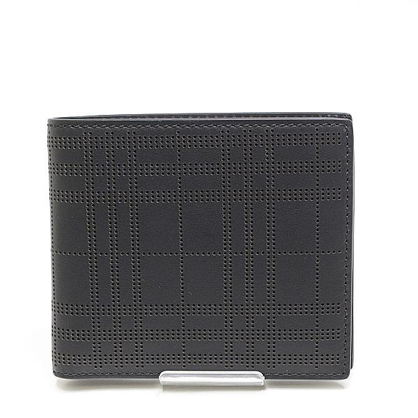 BURBERRY バーバリー パンチングチェック 二つ折り財布 ブラック(黒)未使用品