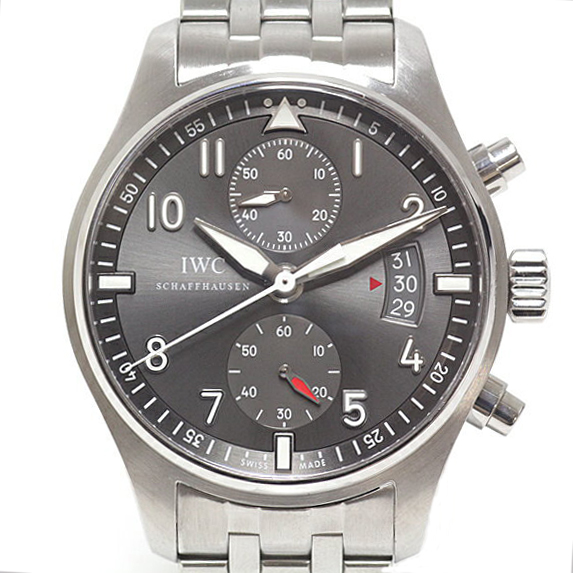 IWC メンズ腕時計 パイロットウォッチ スピットファイア クロノグラフ IW387804 グレー文字盤【中古】