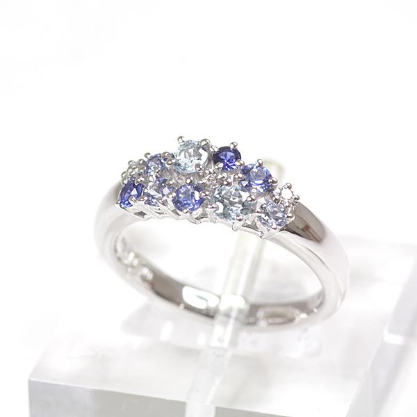 タサキ 田崎真珠 TASAKI K18WG カラーストーン ダイヤモンド デザインリング 11号 ダイヤモンド(0.03ct)/ブルー系カラーストーン ホワイトゴールド 仕上げ済 【中古】