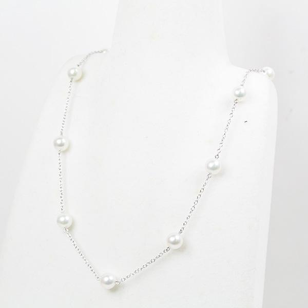 ミキモト MIKIMOTO K18WG パール ネックレス 40cm アコヤ真珠(6.3~6.4mm) PP-158BU ホワイトゴールド 仕上げ済【中古】