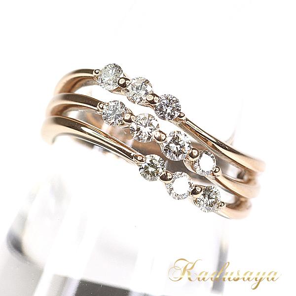 K18PG ダイヤデザインリング#10号/D0.40ct 合計10石/洗浄仕上済【中古】