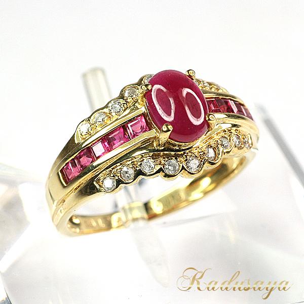 K18YG/カボションルビーダイヤデザインリング/1.20ct D0.13ct/10号/仕上げ済【中古】