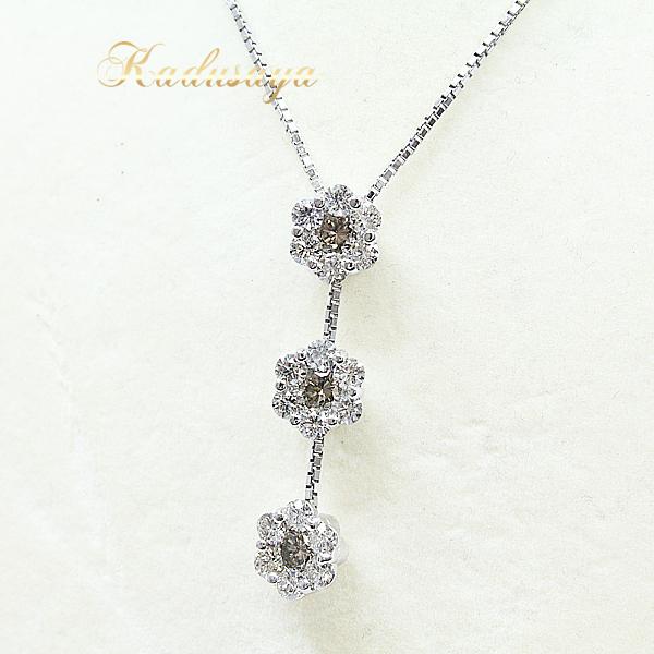 K18WG フラワーデザインダイヤネックレス クリアダイヤモンド1.35ct ブラウンダイヤ0.65ct 49cm 仕上げ済 【中古】