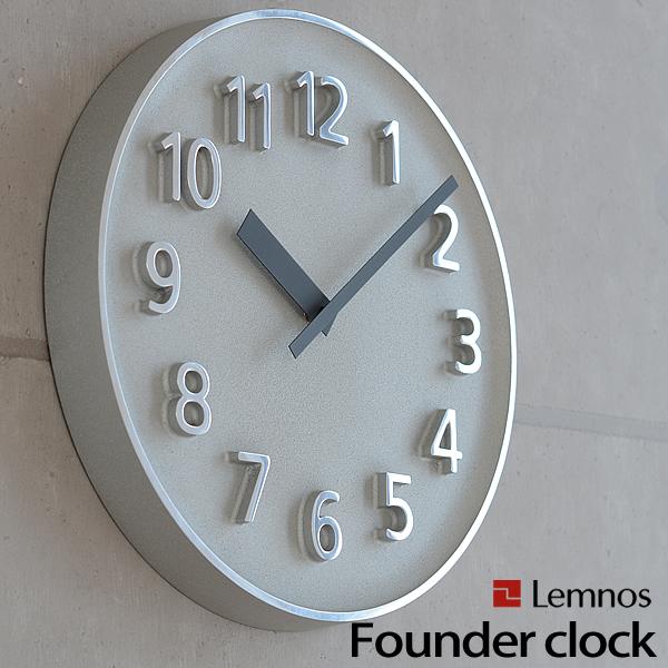 レムノス Lemnos 掛け時計 ファウンダークロック Founder Clock 268mm ステップムーブメント 秒針なし おしゃれ 北欧 壁掛け 壁掛け時計 掛時計 時計 シンプル デザイナーズ